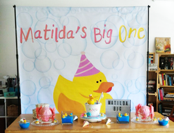 birthday banner backdrop with giant banner stand printed and installed by buntingmax.com.my