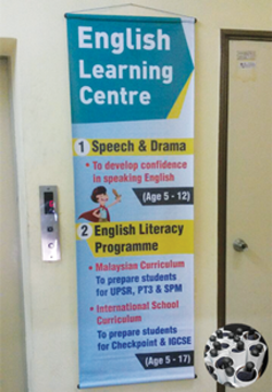 english learning centre bunting with pvc pipe finishing printed by buntingmax.com.my