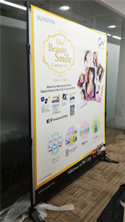 sunstar giant banner backdrop printed with stand by buntingmax.com.my