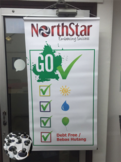 northstar bunting with pvc pipe finishing printed by buntingmax.com.my