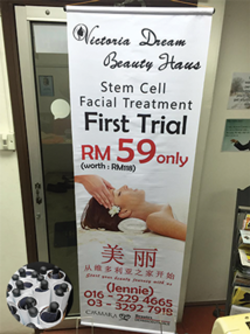 stem cell facial treatment bunting with pvc pipe finishing printed by buntingmax.com.my